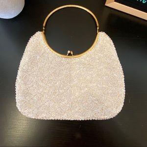 Cream beaded purse gold tone handle